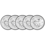 2020 South Africa Silver Krugerrand 1 oz 1 Rand - BU Five 5 Coins