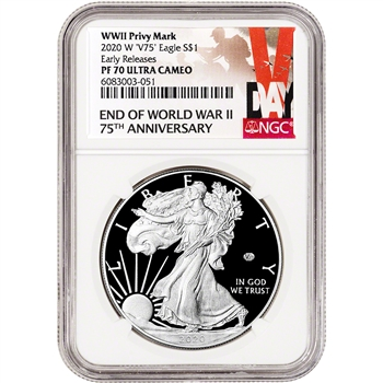 2020 W American Silver Eagle Proof V75 End World War II NGC PF70 Early Releases