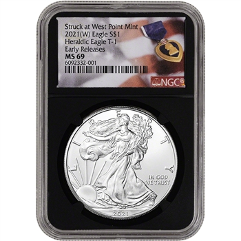 2021 (W) American Silver Eagle - NGC MS69 - Early Releases - Purple Heart Black