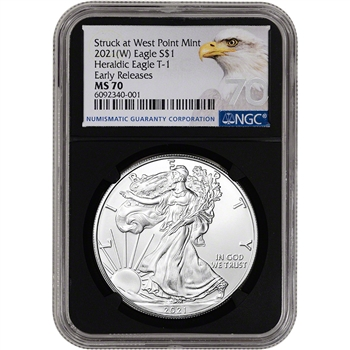2021 (W) American Silver Eagle - NGC MS70 - Early Releases - Grade 70 - Black