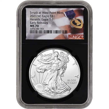 2021 (W) American Silver Eagle - NGC MS70 - Early Releases - Purple Heart Black