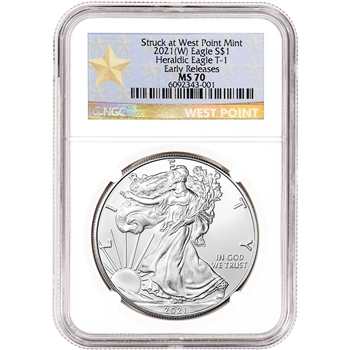 2021 (W) American Silver Eagle - NGC MS70 - Early Releases - Star Label