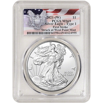 2021 (W) American Silver Eagle - PCGS MS69 - First Strike Red Flag Label