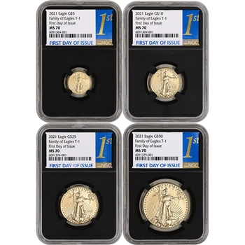 2021 American Gold Eagle 4-pc Year Set NGC MS70 First Day Issue 1st Label Black