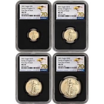 2021 American Gold Eagle 4-pc Year Set NGC MS70 First Day Issue Grade 70 Black