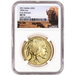2021 American Gold Buffalo 1 oz $50 - NGC MS70 Early Releases Bison Label