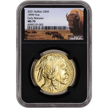 2021 American Gold Buffalo 1 oz $50 - NGC MS70 Early Releases Bison Label Black