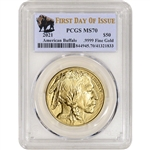 2021 American Gold Buffalo 1 oz $50 - PCGS MS70 First Day of Issue Buffalo Label