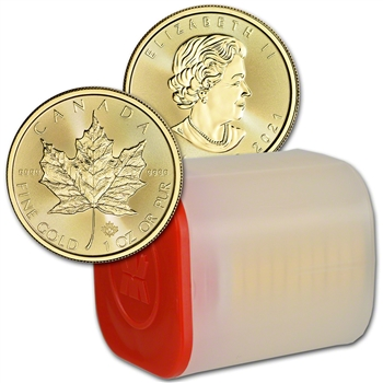 2021 Canada Gold Maple Leaf 1 oz $50 - BU - 1 Roll Ten 10 Coins in Mint Tube