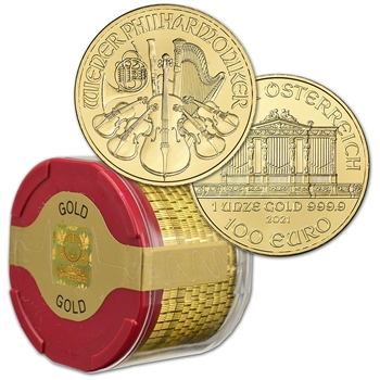 2021 Austria Gold Philharmonic 1 oz 100 Euro - 1 Roll 10 BU Coins in Mint Tube