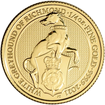 2021 Great Britain Gold Queen's Beasts Greyhound ?25 - 1/4 oz - BU