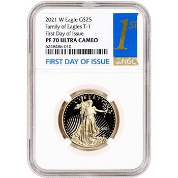 2021 W American Gold Eagle Proof 1/2 oz $25 - NGC PF70 UCAM First Day Issue 1st