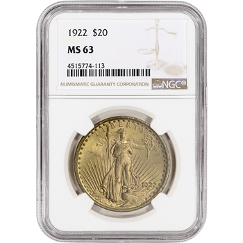 1922 US Gold $20 Saint-Gaudens Double Eagle - NGC MS63