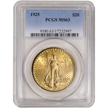 1925 US Gold $20 Saint-Gaudens Double Eagle - PCGS MS63