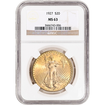 1927 US Gold $20 Saint-Gaudens Double Eagle - NGC MS63