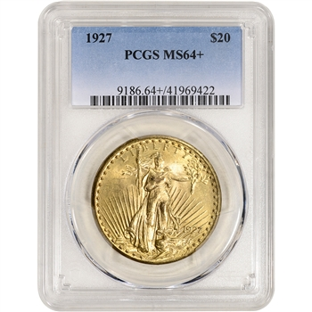 1927 US Gold $20 Saint-Gaudens Double Eagle - PCGS MS64+