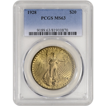 1928 US Gold $20 Saint-Gaudens Double Eagle - PCGS MS63