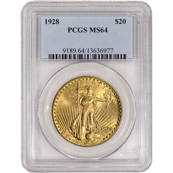 1928 US Gold $20 Saint-Gaudens Double Eagle - PCGS MS64