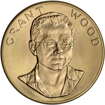 1980 US Gold (1 oz) American Commemorative Arts Medal - Grant Wood - BU
