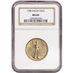 1986 American Gold Eagle 1/2 oz $25 - NGC MS69