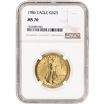 1986 American Gold Eagle 1/2 oz $25 - NGC MS70