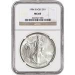 1986 American Silver Eagle - NGC MS69