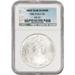 1986 American Silver Eagle - NGC MS69 - First Year of Issue Label