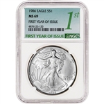 1986 American Silver Eagle - NGC MS69 First Year of Issue Large Label