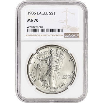 1986 American Silver Eagle - NGC MS70