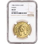 1986 China Gold Panda 1 oz 100 Yuan - NGC MS69