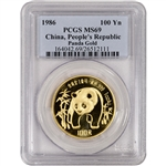 1986 China Gold Panda (1 oz) 100 Yuan - PCGS MS69