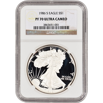 1986-S American Silver Eagle Proof - NGC PF70 UCAM