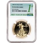 1986-W American Gold Eagle Proof 1 oz $50 - NGC PF69 UCAM First Year Issue Label