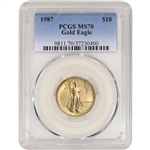 1987 American Gold Eagle 1/4 oz $10 - PCGS MS70