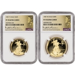 1987 American Gold Eagle Proof 2-pc Year Set - NGC PF70 UCAM St. Gaudens Label