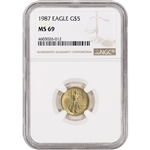 1987 American Gold Eagle 1/10 oz $5 - NGC MS69