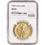 1987 American Gold Eagle 1 oz $50 - NGC MS69