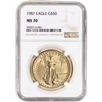 1987 American Gold Eagle 1 oz $50 - NGC MS70