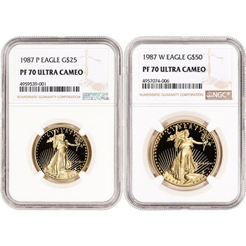 1987 American Gold Eagle Proof 2-pc Year Set - NGC PF70 UCAM