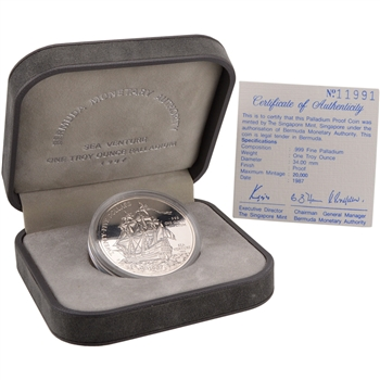 1987 Bermuda Palladium Proof $25 - Sea Venture in Original Mint Packaging