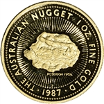 1987 P Australia Gold Nugget Proof 1 oz $100 - Poseidon - Gem Proof