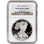 1987-S American Silver Eagle Proof - NGC PF69UCAM