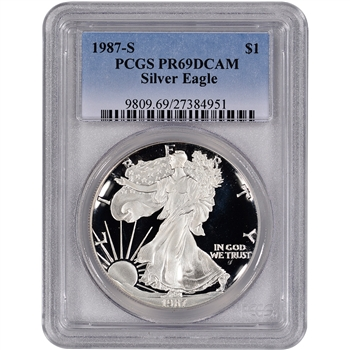 1987-S American Silver Eagle Proof - PCGS PR69DCAM