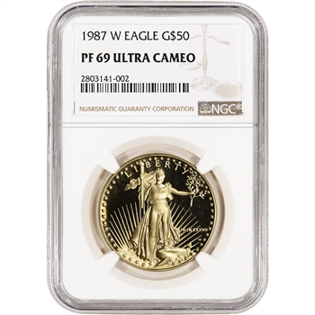1987-W American Gold Eagle Proof (1 oz) $50 - NGC PF69 UCAM