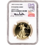 1987 W American Gold Eagle Proof 1 oz $50 - NGC PF70 UCAM Castle Signed