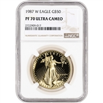 1987-W American Gold Eagle Proof (1 oz) $50 - NGC PF70 UCAM