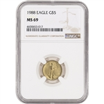 1988 American Gold Eagle 1/10 oz $5 - NGC MS69