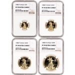 1988 American Gold Eagle Proof 4-pc Year Set - NGC PF70 UCAM