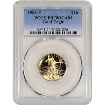 1988-P American Gold Eagle Proof 1/4 oz $10 - PCGS PR70 DCAM