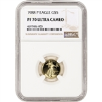 1988-P American Gold Eagle Proof 1/10 oz $5 - NGC PF70 UCAM